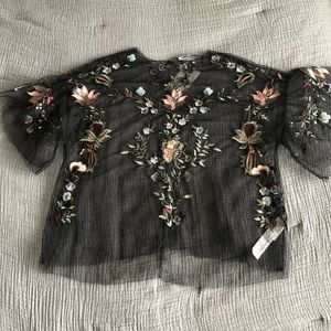 Zara Sheer Embroidered Blouse